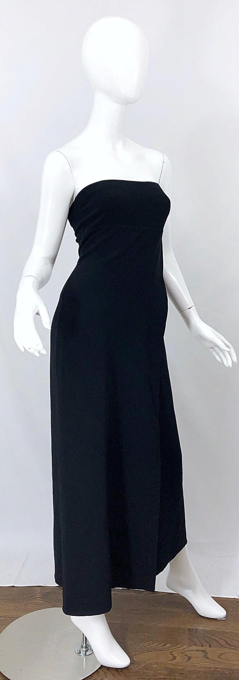 1990s Donna Karan New York Size 4 Black Strapless Vintage 90s Gown Maxi Dress For Sale 5