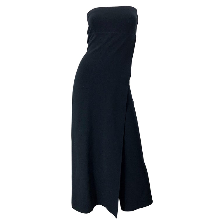 1990s Donna Karan New York Size 4 Black Strapless Vintage 90s Gown Maxi Dress For Sale