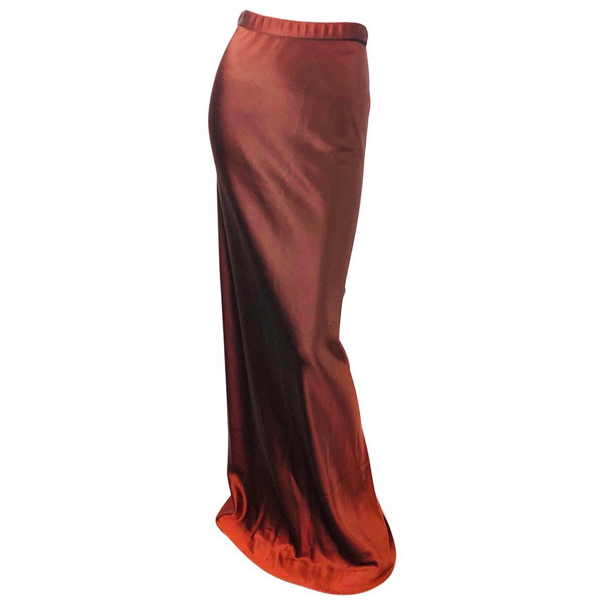 1990s Donna Karan Original Sample Ombre Copper Brown Silk Jersey Maxi Skirt