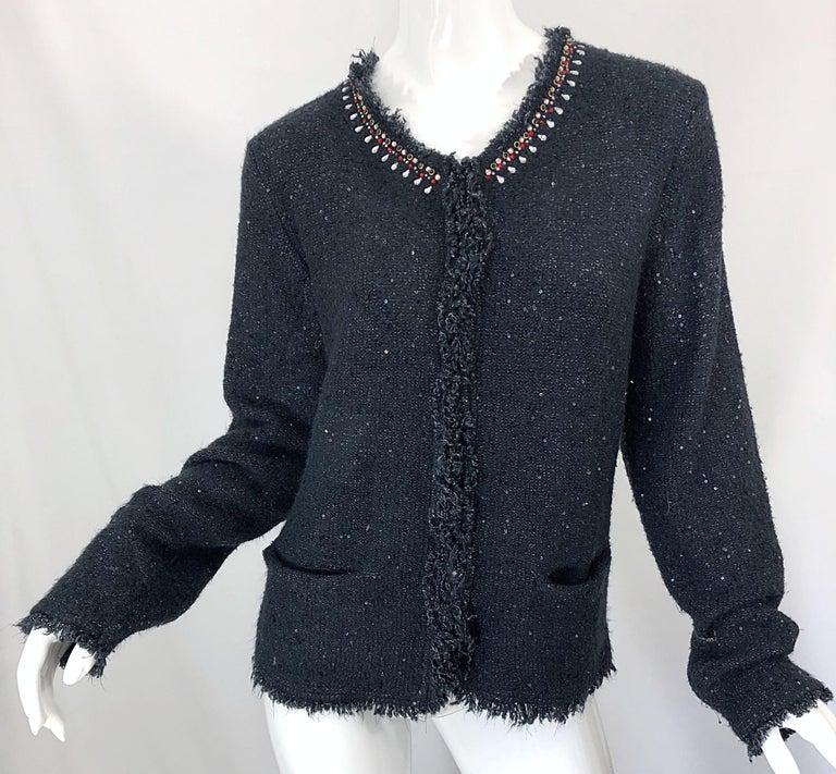 1990s Donna Karan XL Sequined Beaded Rhinestone Vintage Black Cardigan Sweater For Sale 6