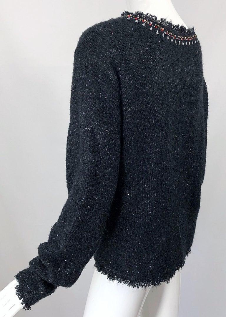 1990s Donna Karan XL Sequined Beaded Rhinestone Vintage Black Cardigan Sweater For Sale 7