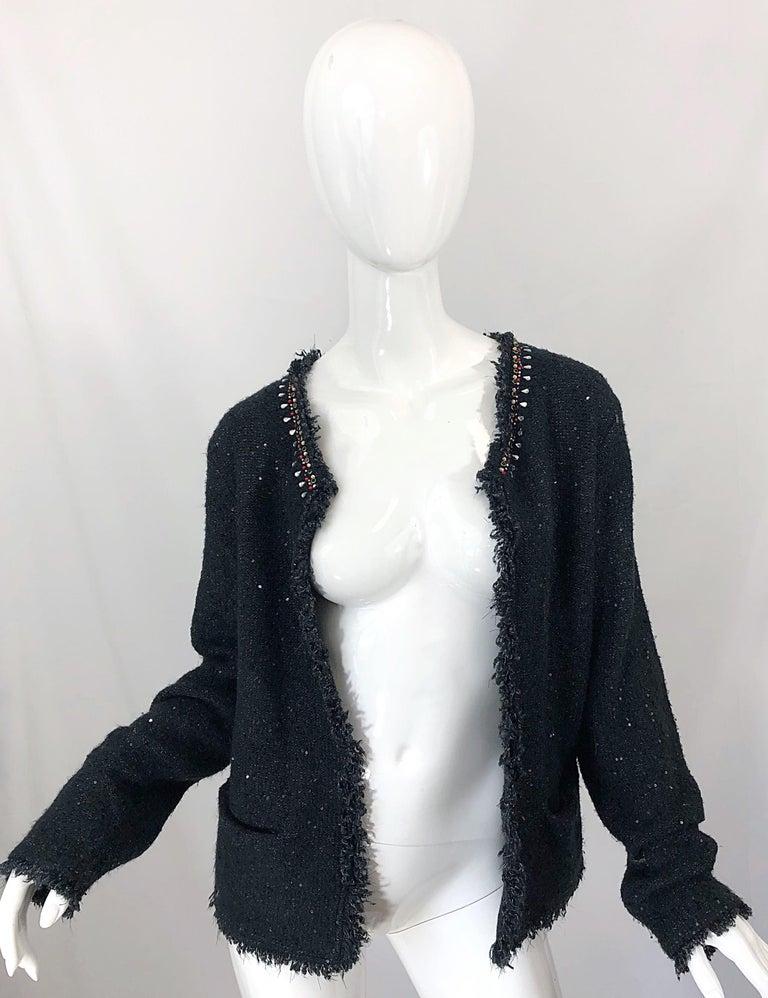1990s Donna Karan XL Sequined Beaded Rhinestone Vintage Black Cardigan Sweater For Sale 8