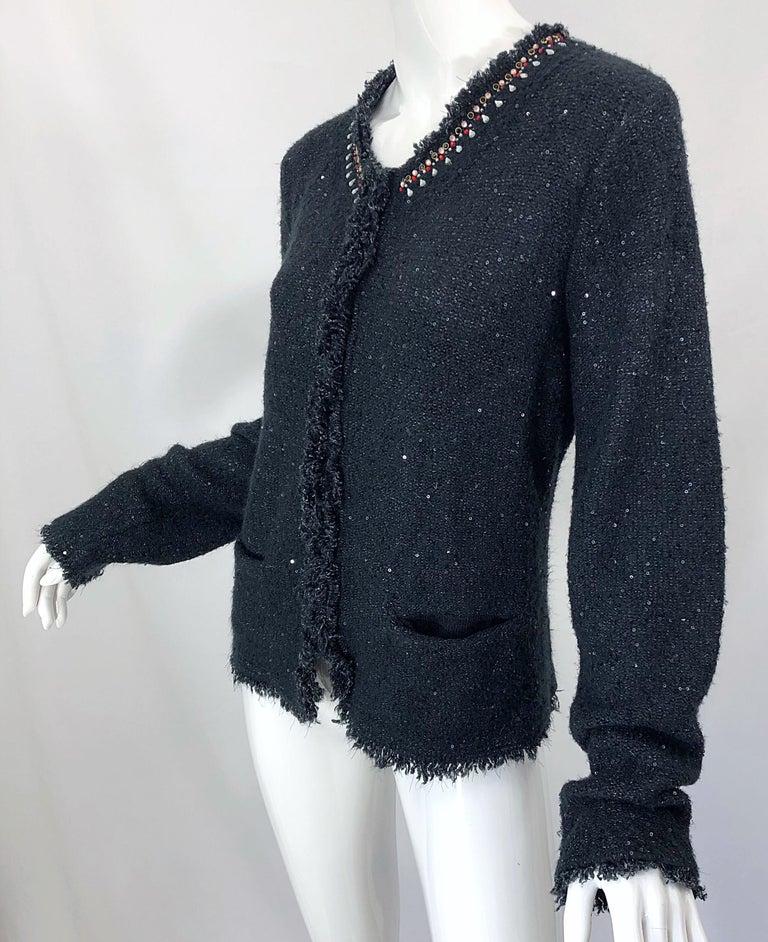 1990s Donna Karan XL Sequined Beaded Rhinestone Vintage Black Cardigan Sweater For Sale 9
