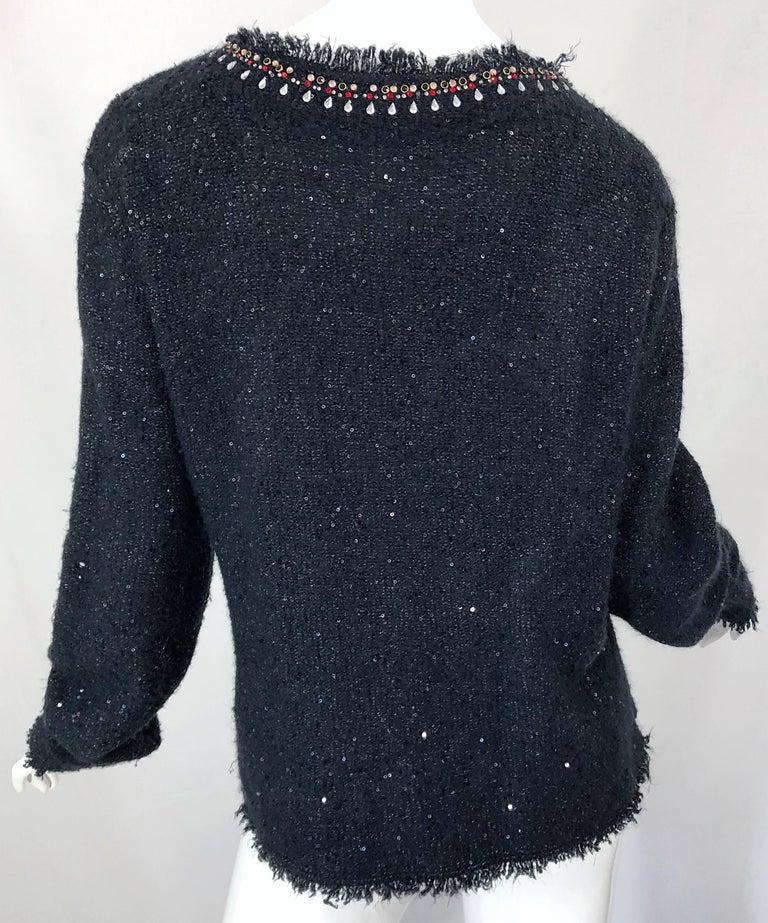 1990s Donna Karan XL Sequined Beaded Rhinestone Vintage Black Cardigan Sweater For Sale 10