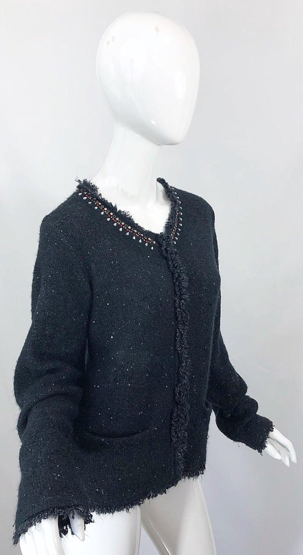 1990s Donna Karan XL Sequined Beaded Rhinestone Vintage Black Cardigan Sweater For Sale 11