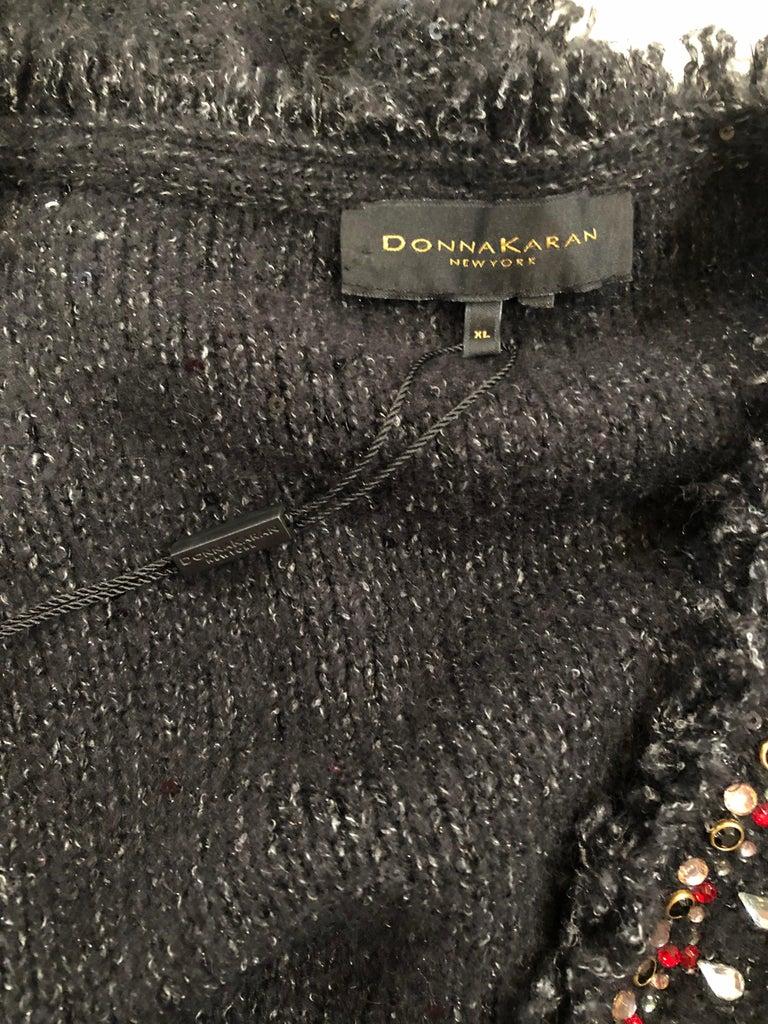 1990s Donna Karan XL Sequined Beaded Rhinestone Vintage Black Cardigan Sweater For Sale 14