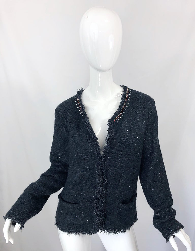 Women's 1990s Donna Karan XL Sequined Beaded Rhinestone Vintage Black Cardigan Sweater For Sale