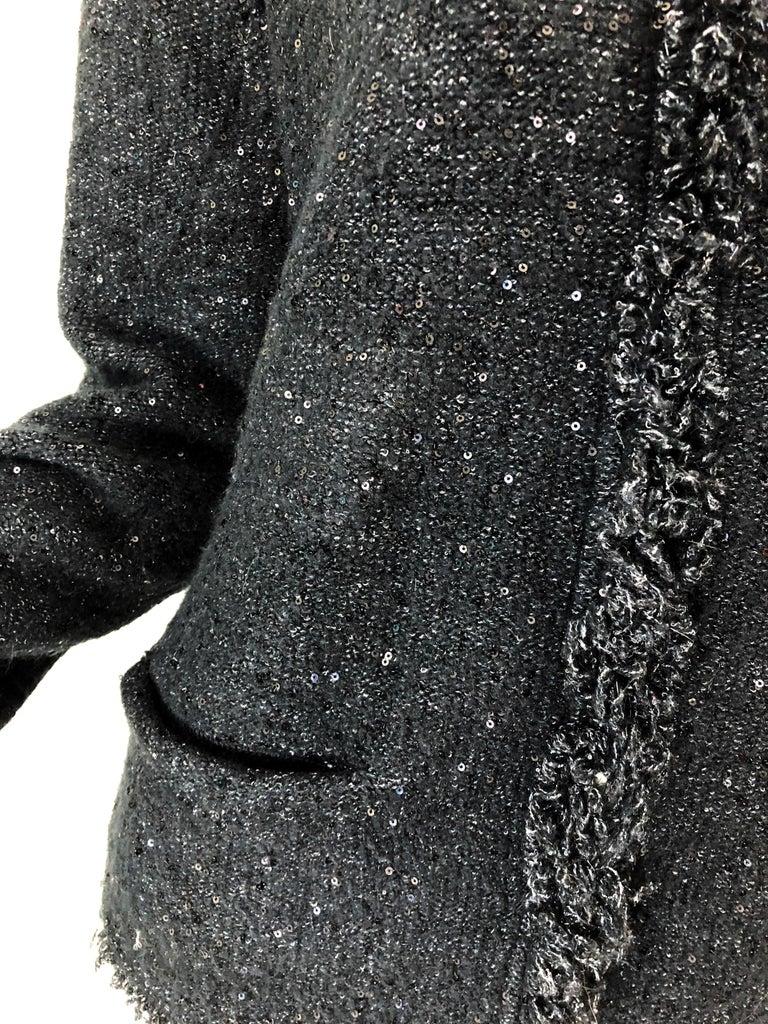 1990s Donna Karan XL Sequined Beaded Rhinestone Vintage Black Cardigan Sweater For Sale 2
