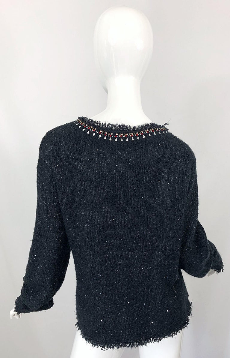 1990s Donna Karan XL Sequined Beaded Rhinestone Vintage Black Cardigan Sweater For Sale 3