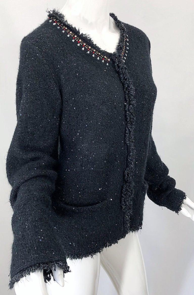 1990s Donna Karan XL Sequined Beaded Rhinestone Vintage Black Cardigan Sweater For Sale 4