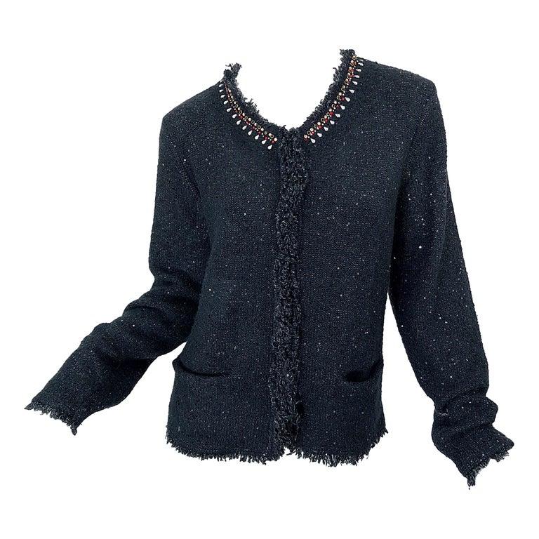 1990s Donna Karan XL Sequined Beaded Rhinestone Vintage Black Cardigan Sweater For Sale