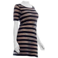 1990S DOROTHEE BIS Black & Silver Metallic Sheer Stripe Knit Dress