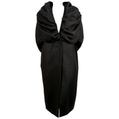 1990's DRIES VAN NOTEN black wool coat with dramatic shawl collar