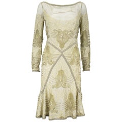 Eavis & Brown London Bronze Gold Beaded Silk Chiffon Cocktail Dress