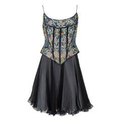 1990s Eavis & Brown London Floral Peacock Beaded Corset and Chiffon Skirt