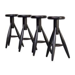 1990s Eero Aarnio 'EA001' Black Stool for Artek Set/4