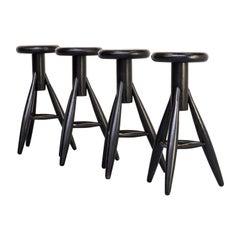 1990s Eero Aarnio 'EA001' Black Stool for Artek Set/4