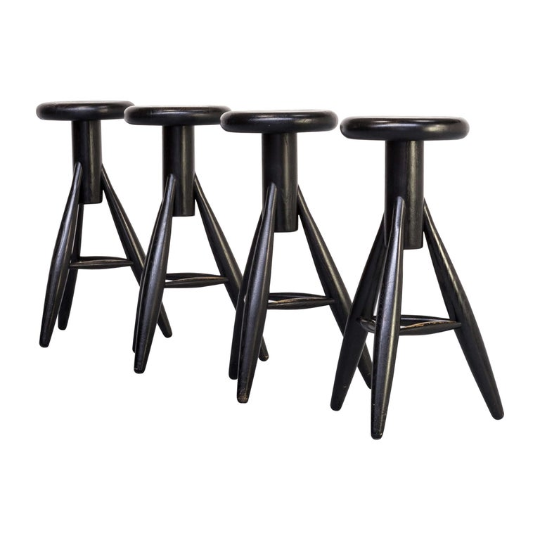 1990s Eero Aarnio 'EA001' Black Stool for Artek Set/4 For Sale