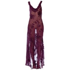 1990S Eggplant Purple Bias Cut Silk Burnout Chiffon Cowl Neck Slip Dress With T