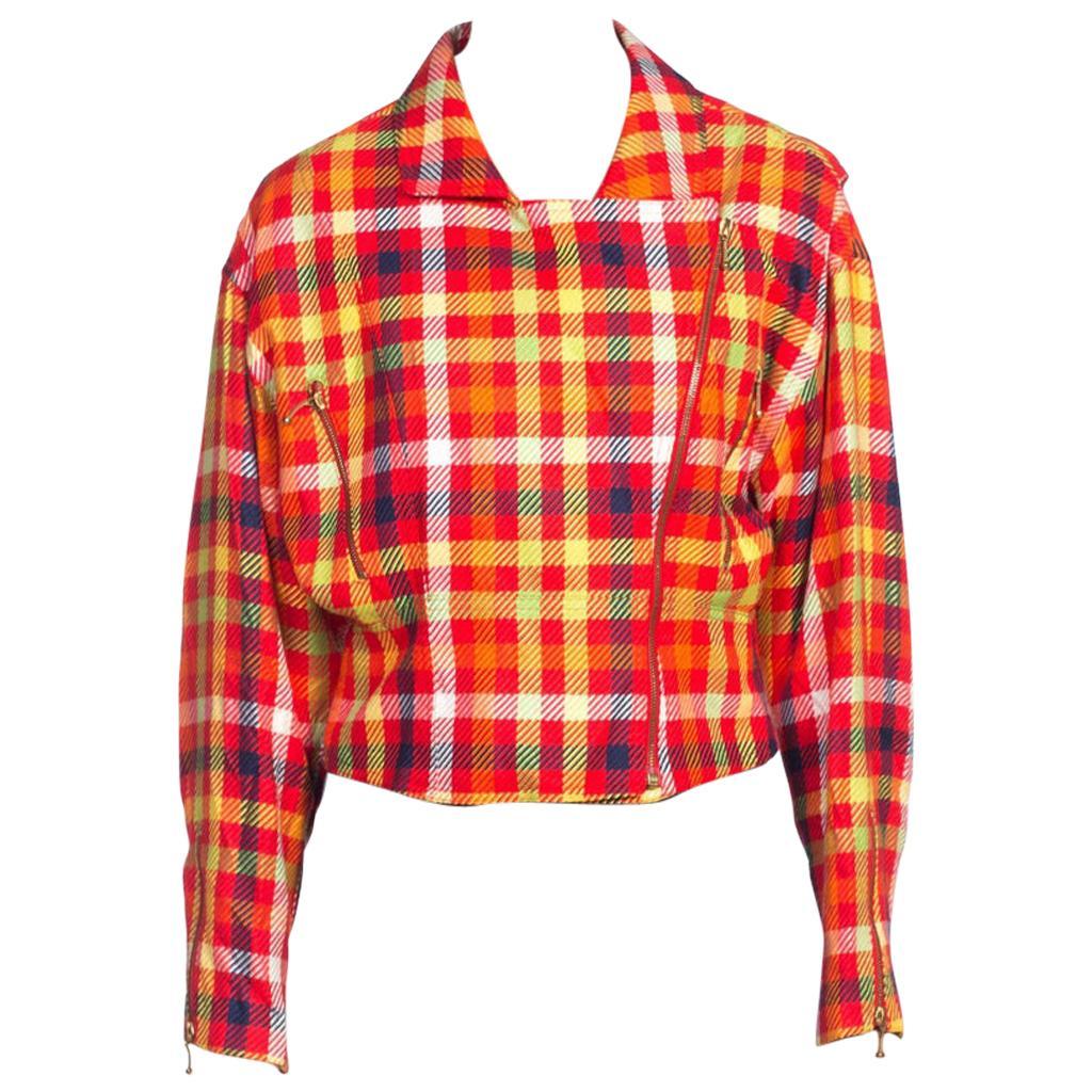 1990'S Emanuel Ungaro  Clueless Silk Plaid Zipper Biker Jacket