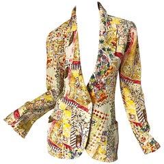 1990s Emanuel Ungaro Garden Flower Print Vintage 90s Silk Blazer Jacket