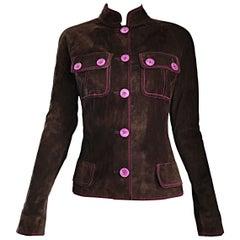 1990s Emanuel Ungaro Leather Suede Chocolate Brown + Purple Vintage Moto Jacket