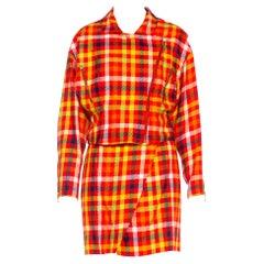 1990S EMANUEL UNGARO Multicolored Silk Blend Plaid Clueless Skirt Suit