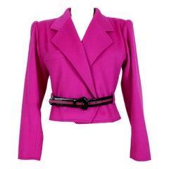 1990s Emanuel Ungaro Pink Double Breatsed Cashmere Wool Jacket