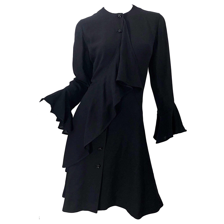 1990s Emanuel Ungaro Size 10 Black Rayon Vintage 90s Bell Sleeve Wrap Dress