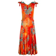 1990s Embroidered Orange & Turquoise Silk Couture Dress and Bag