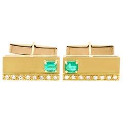 1990s Emerald Diamond and Yellow Gold Cufflinks