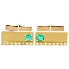 1990s Emerald Diamond and Yellow Gold Cufflinks