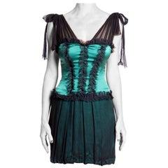 2000S Emerald Green & Black Silk Charmeuse Chiffon Victorian Inspired Bubble Sk