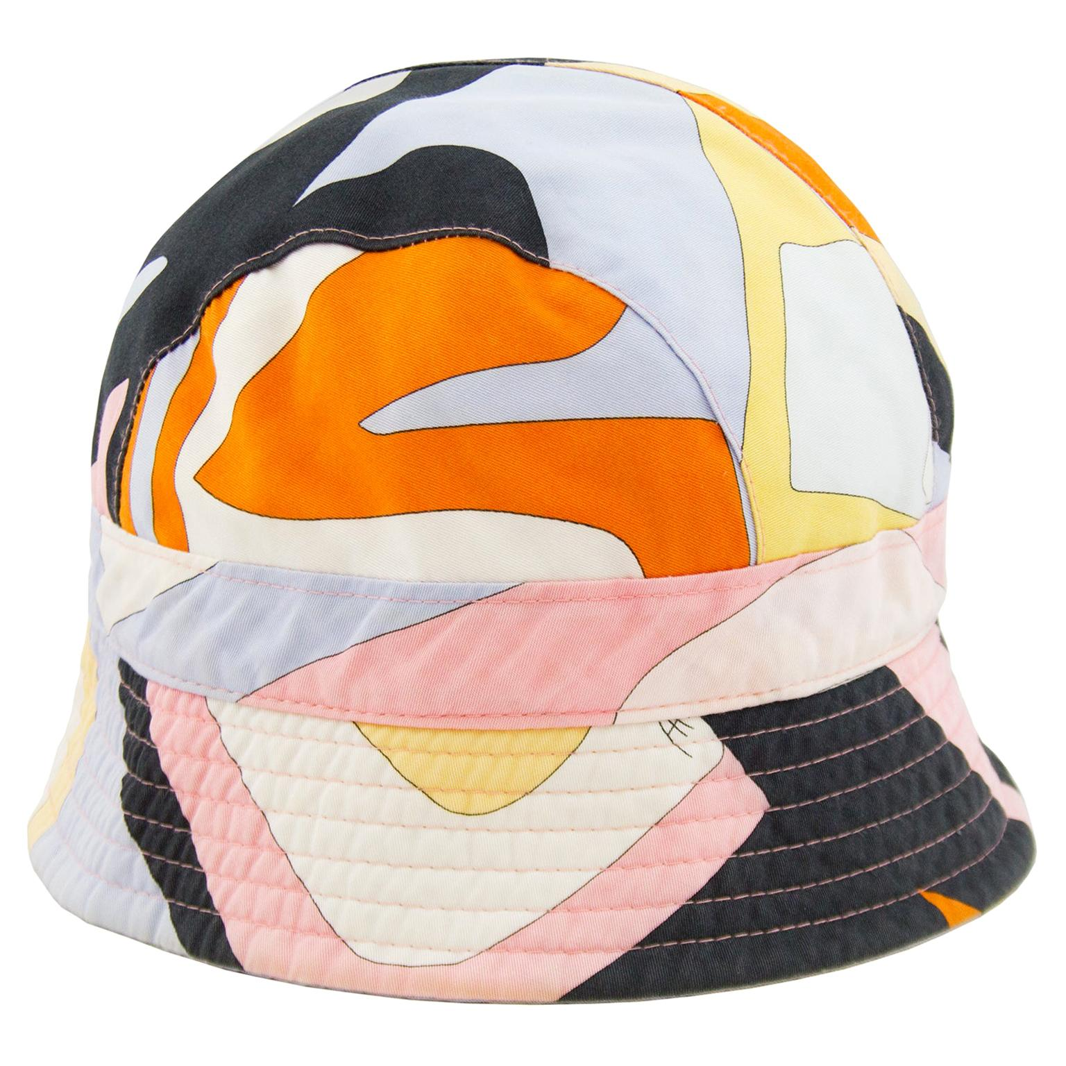 1990s Emilio Pucci Multi Colour Cotton Bucket Hat