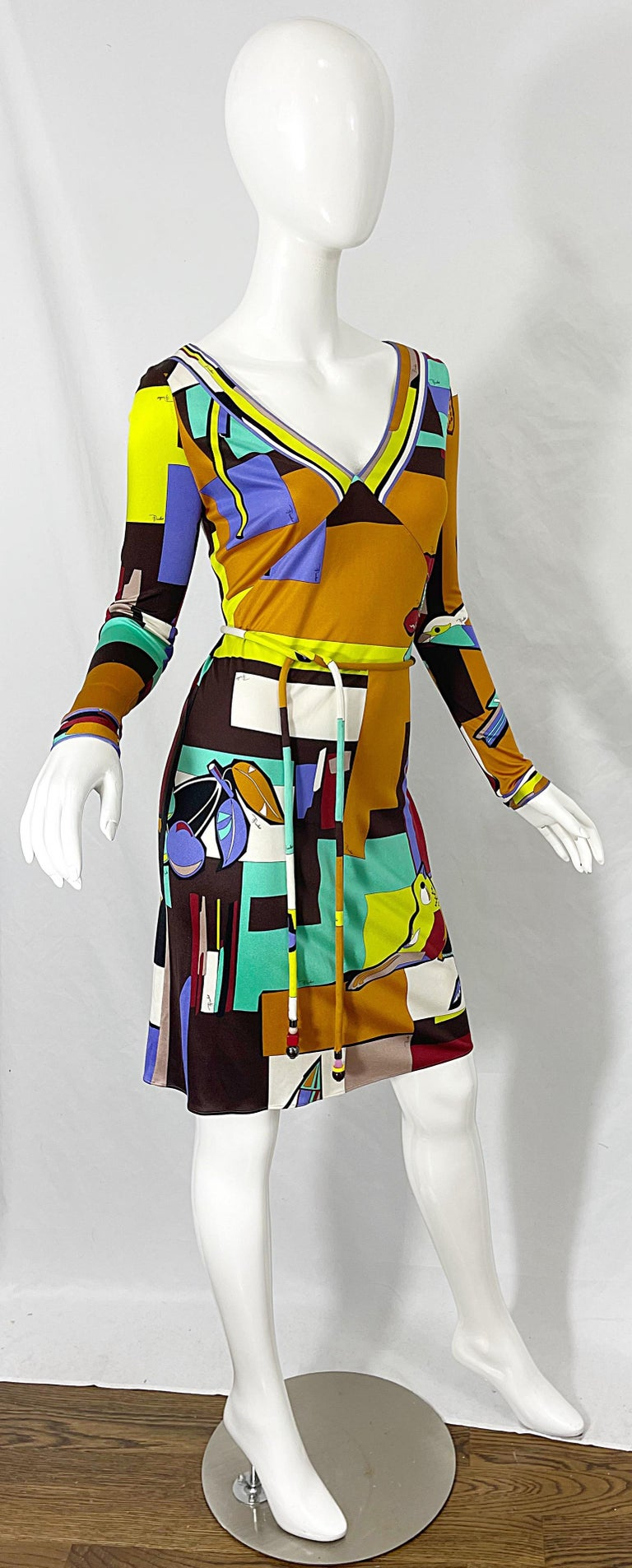 1990s Emilio Pucci Size 4 / 6 Novelty Bird Butterfly Print Silk Vintage Dress For Sale 8