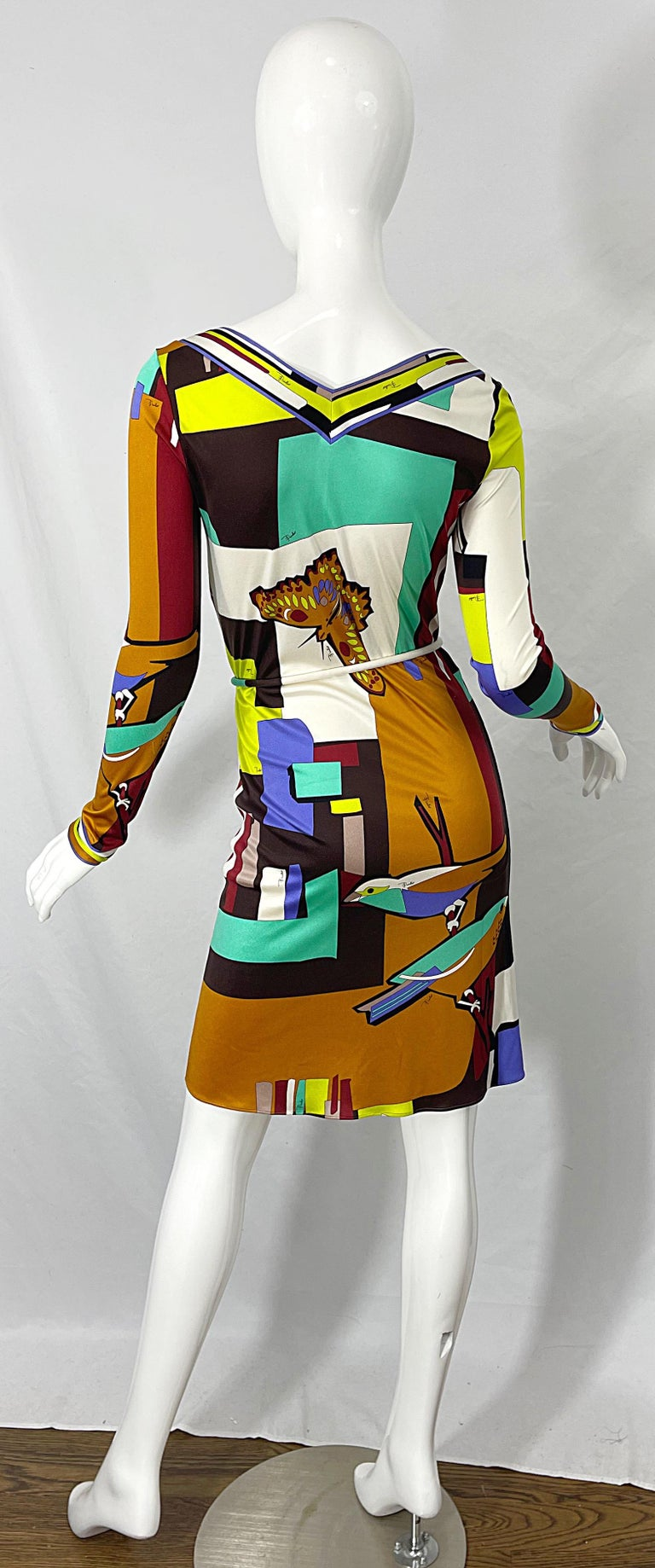 1990s Emilio Pucci Size 4 / 6 Novelty Bird Butterfly Print Silk Vintage Dress For Sale 9