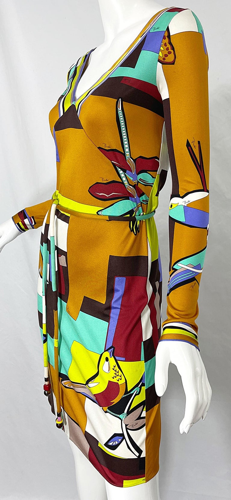 1990s Emilio Pucci Size 4 / 6 Novelty Bird Butterfly Print Silk Vintage Dress For Sale 10