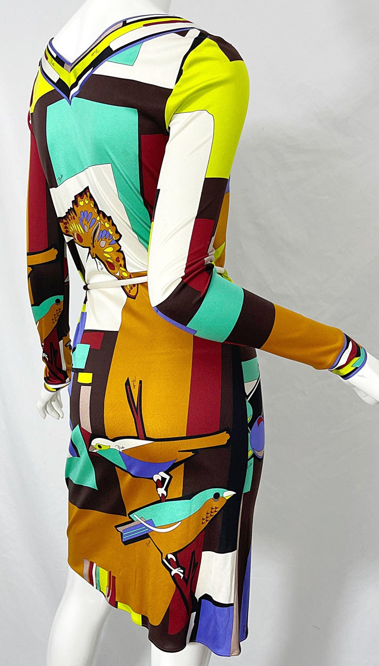 1990s Emilio Pucci Size 4 / 6 Novelty Bird Butterfly Print Silk Vintage Dress For Sale 11