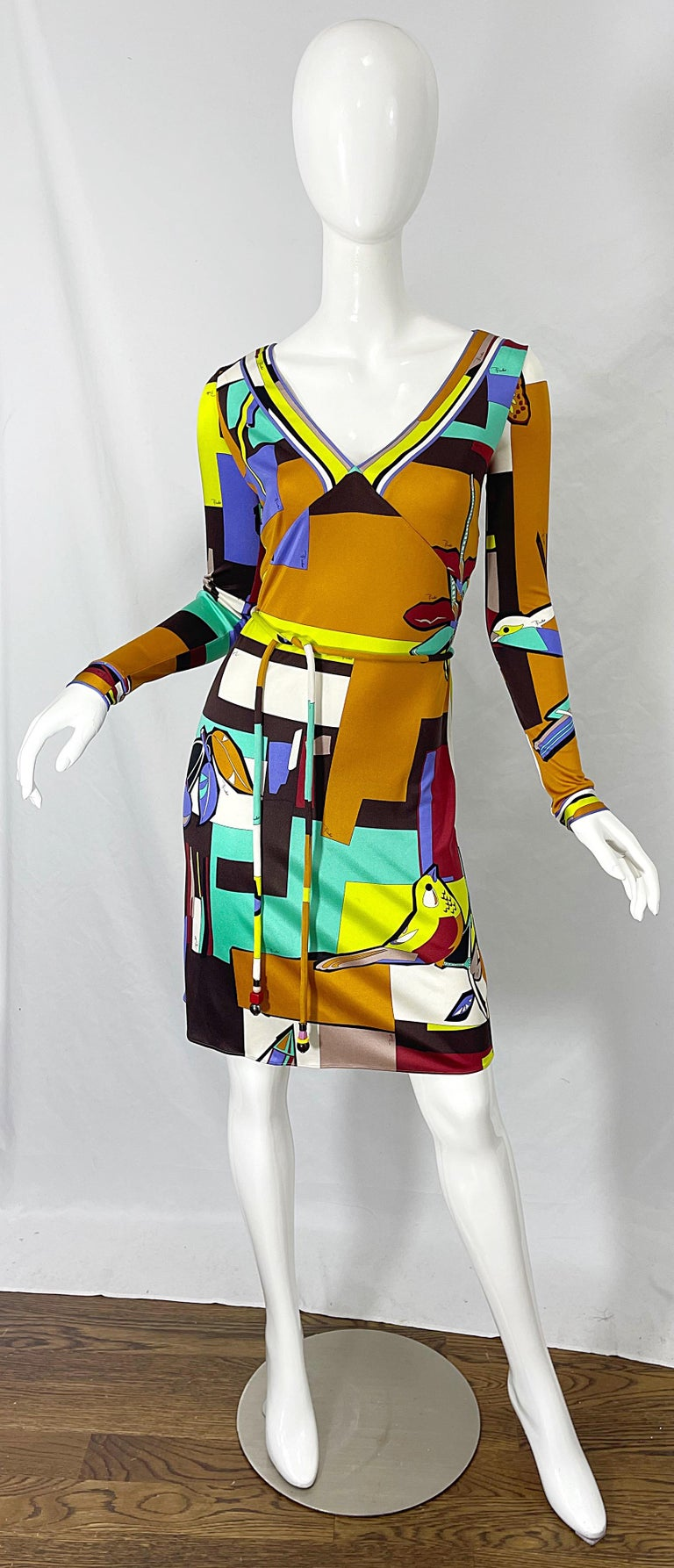 1990s Emilio Pucci Size 4 / 6 Novelty Bird Butterfly Print Silk Vintage Dress For Sale 12