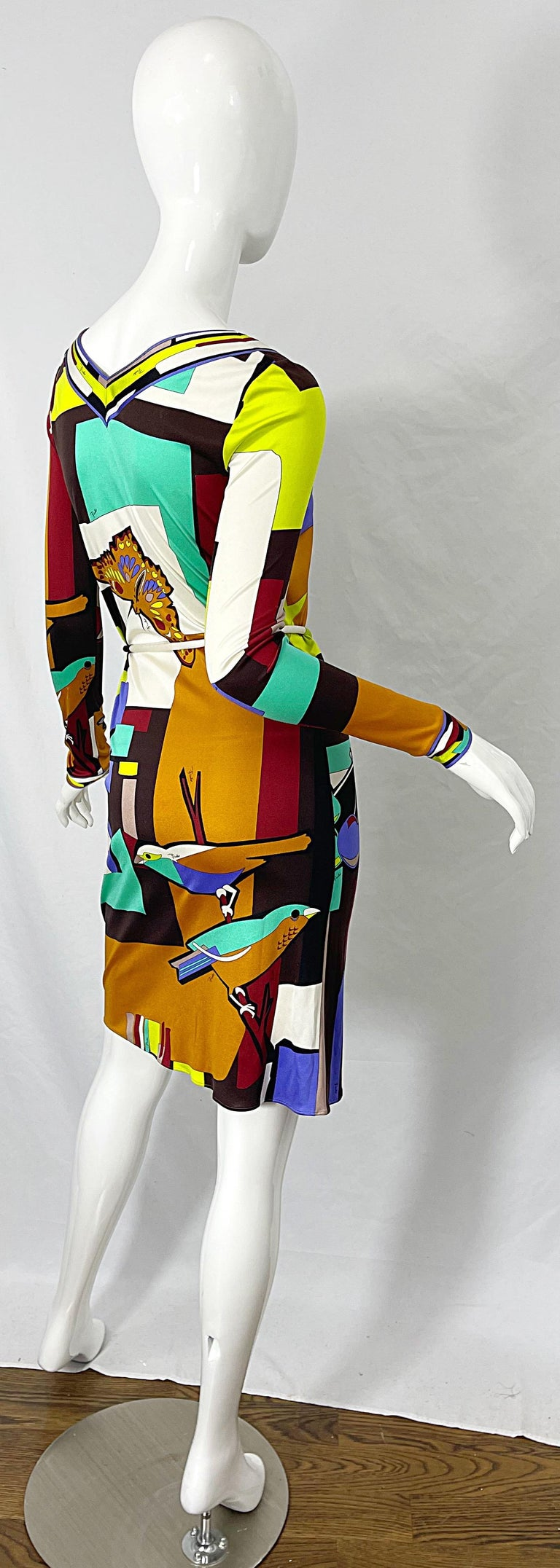 1990s Emilio Pucci Size 4 / 6 Novelty Bird Butterfly Print Silk Vintage Dress For Sale 4