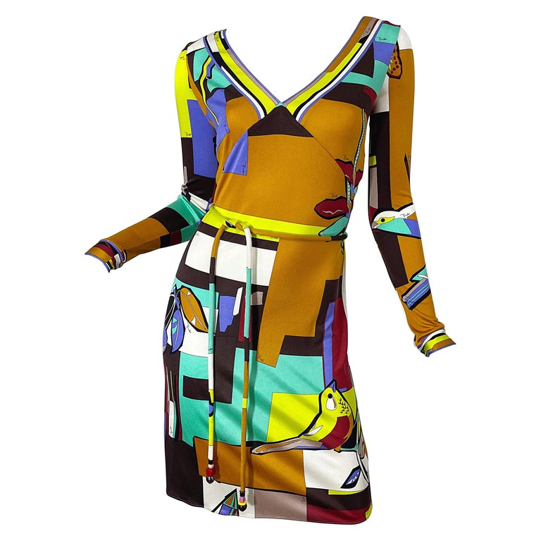 1990s Emilio Pucci Size 4 / 6 Novelty Bird Butterfly Print Silk Vintage Dress For Sale