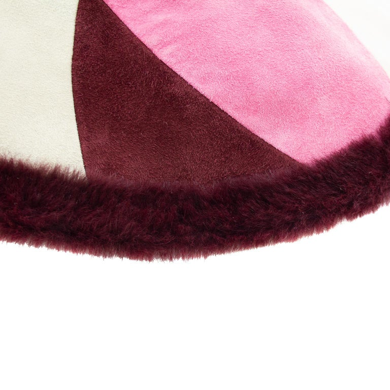 Women's 1990's Emilio Pucci Suede and Fur Wide Brim Hat  For Sale