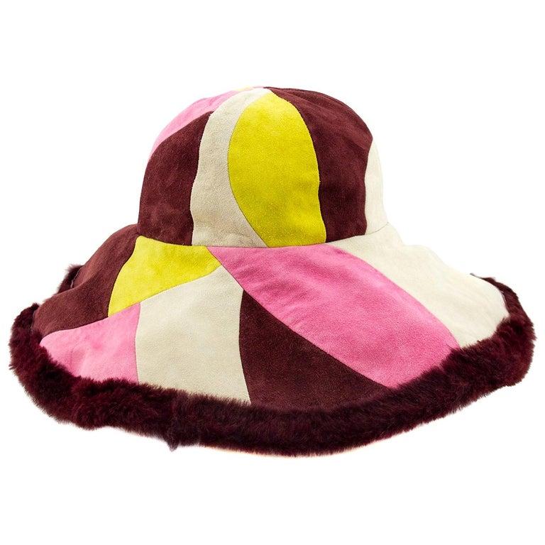 1990's Emilio Pucci Suede and Fur Wide Brim Hat  For Sale