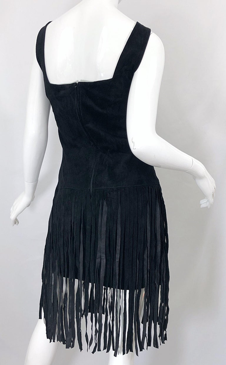 1990s Erez for Lillie Rubin Size 10 Leather Suede Fringe Vintage 90s Mini Dress For Sale 7