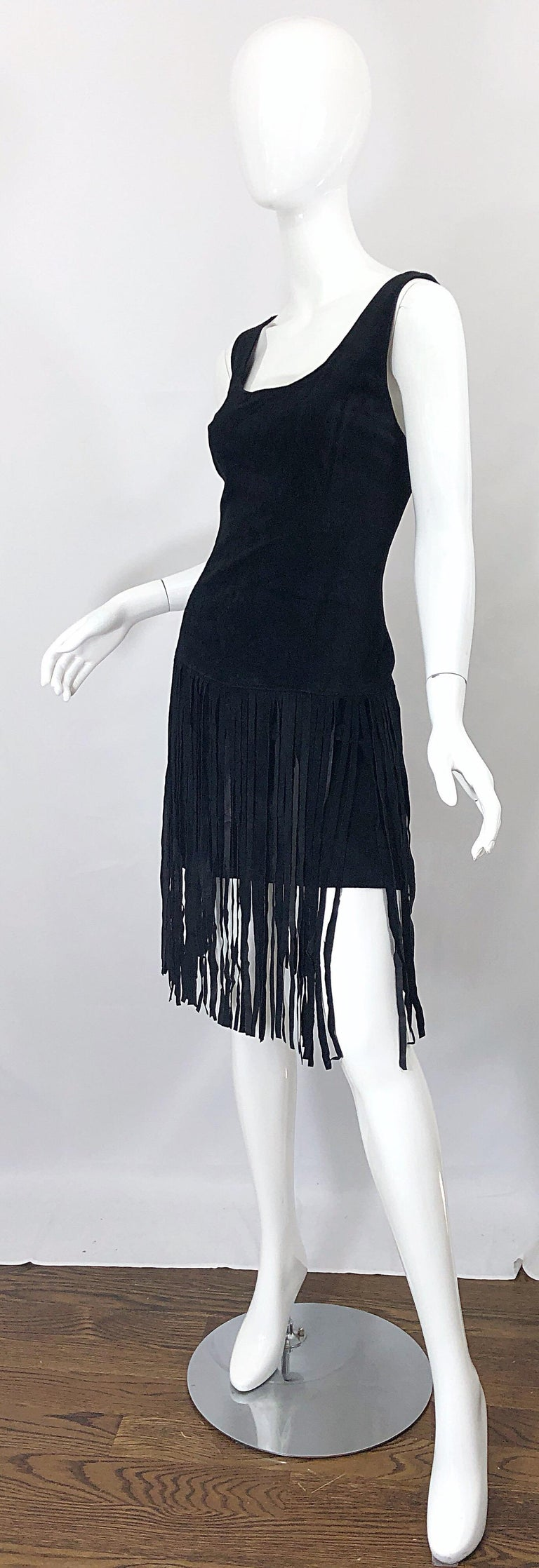 1990s Erez for Lillie Rubin Size 10 Leather Suede Fringe Vintage 90s Mini Dress In Excellent Condition For Sale In Chicago, IL