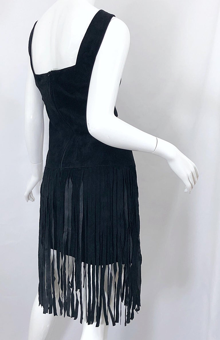Women's 1990s Erez for Lillie Rubin Size 10 Leather Suede Fringe Vintage 90s Mini Dress For Sale