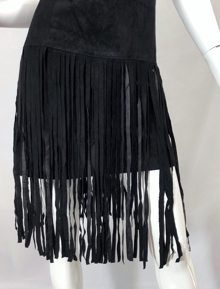 1990s Erez for Lillie Rubin Size 10 Leather Suede Fringe Vintage 90s Mini Dress For Sale 2