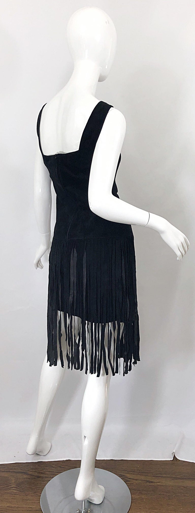 1990s Erez for Lillie Rubin Size 10 Leather Suede Fringe Vintage 90s Mini Dress For Sale 4