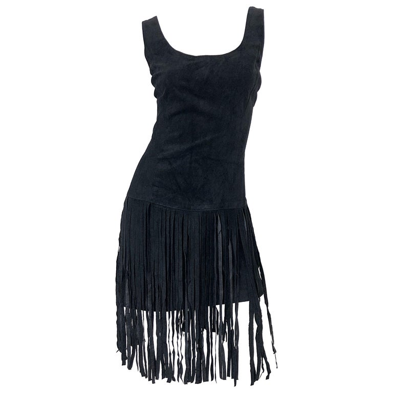 1990s Erez for Lillie Rubin Size 10 Leather Suede Fringe Vintage 90s Mini Dress For Sale