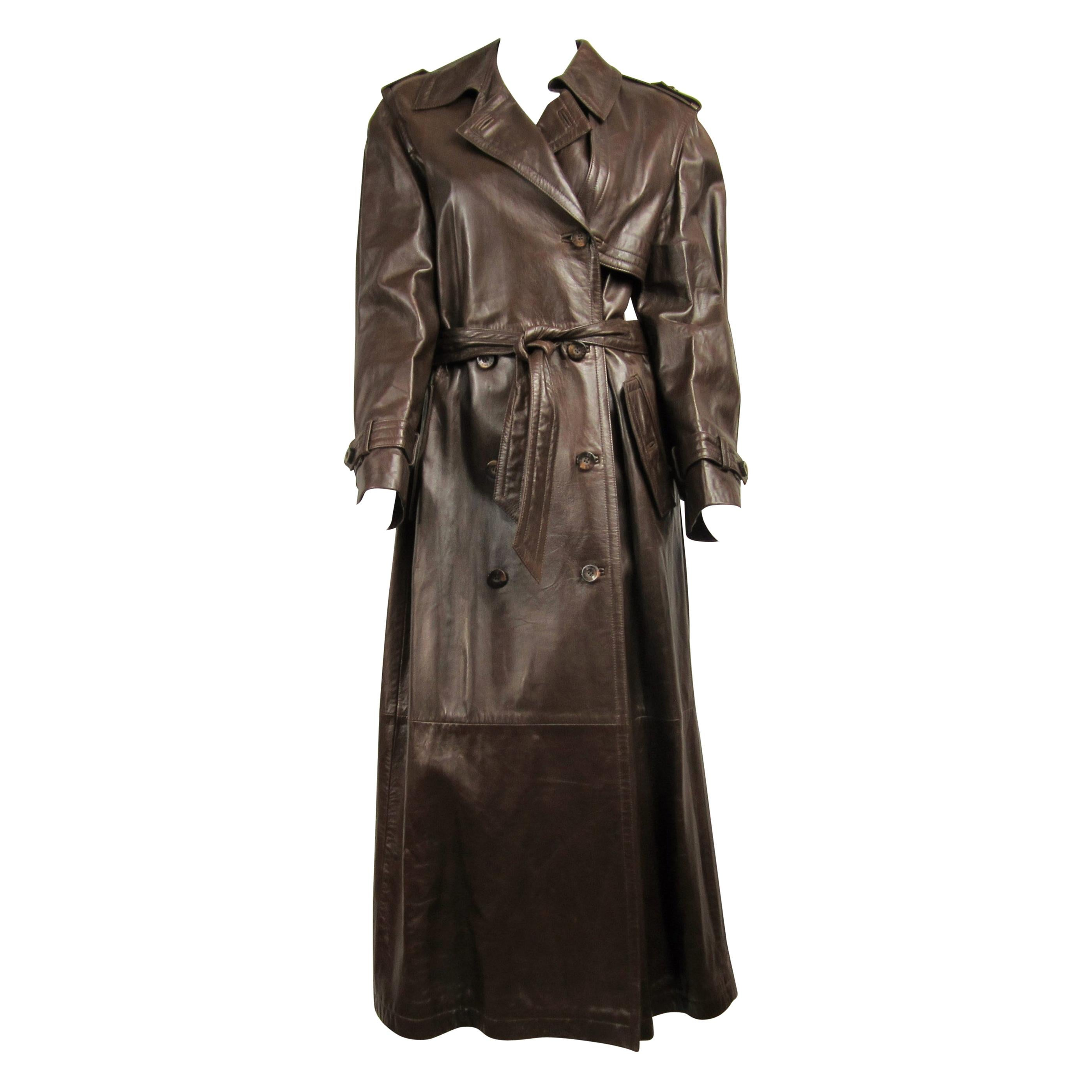 1990's Escada Brown Leather Trench Over Coat New With Tags Size 36